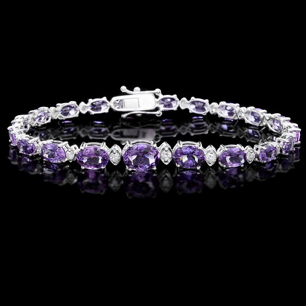Amethyst Bracelet 2.00 Ct Diamond 9.00 Ct Gemstone Solid Gold Natural Certified