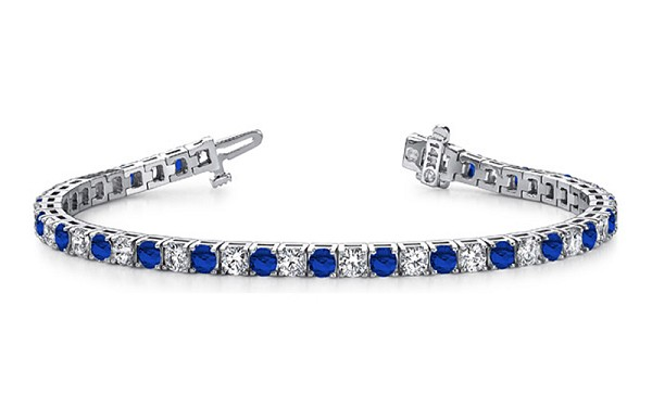 Gemstone Tennis Bracelets 8.00 Ct Natural Diamond Blue Sapphire Solid Gold Natural Certified