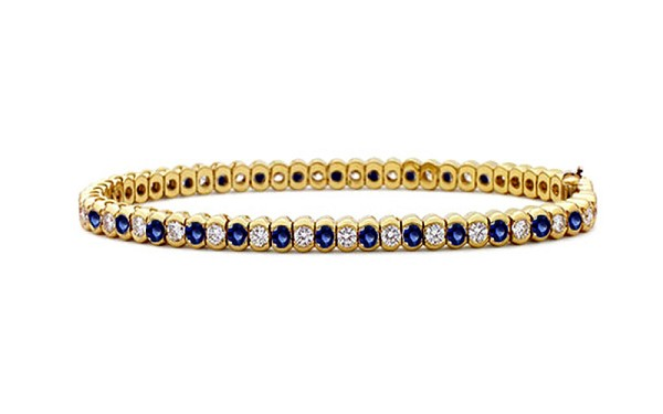 Diamond Gemstone Bracelets 4.05 Ct Blue Sapphire 4.20 Ct Solid Gold Natural Certified