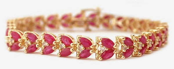 Ruby Bracelet 2.00 Ct Diamond 8.00 Ct Gemstone Solid Gold Natural Certified