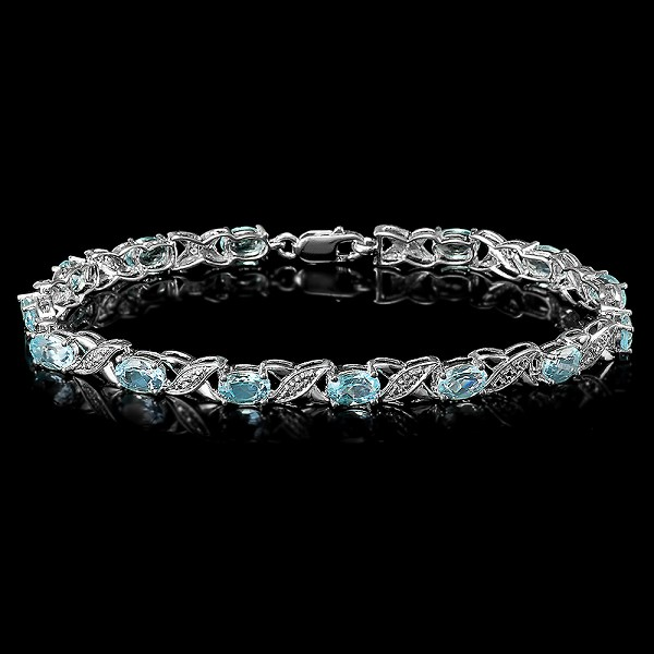 Diamond Gemstone Bracelet 1.00 Ct Sky Blue Topaz 8.00 Ct Solid Gold Natural Certified