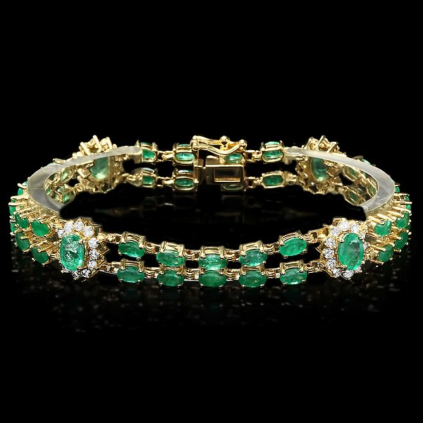 Emerald bracelet 2.50 Ct Diamond 13.50 Ct Gemstone Solid Gold Natural Certified