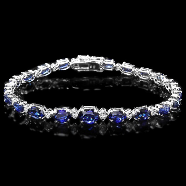 Gemstone Bracelet 2.15 Ct Diamond 9.25 Ct Kayanite Solid Gold Natural Certified