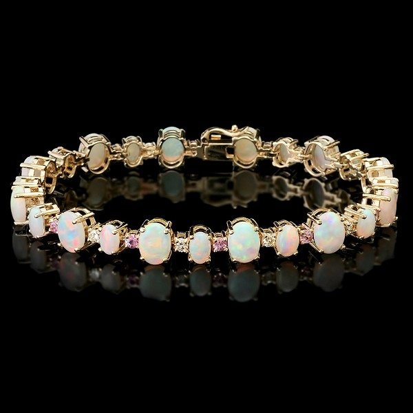 Diamond Gemstone Bracelet 2.00 Ct Opal/Pink Tourmaline 9.75 Ct Solid Gold Natural Certified