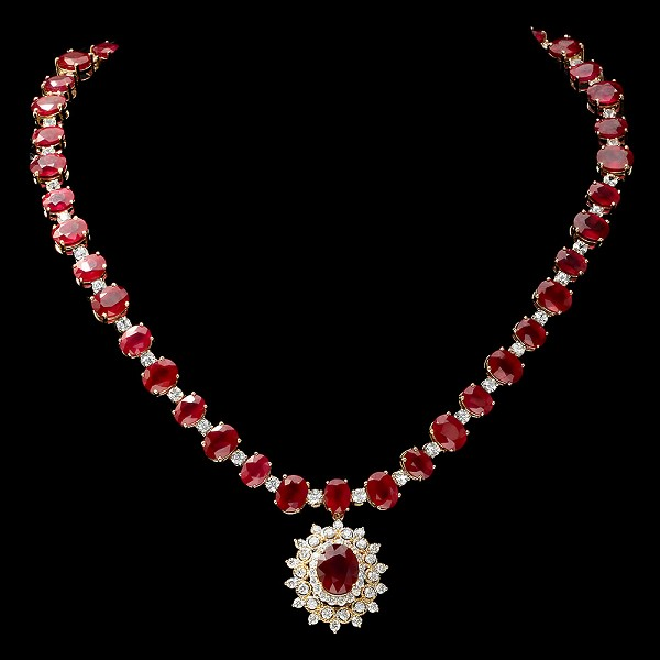 Diamond Gemstone Necklace 4.00 Ct Diamond Natural Certified 26.55Ct Ruby Gold Wedding