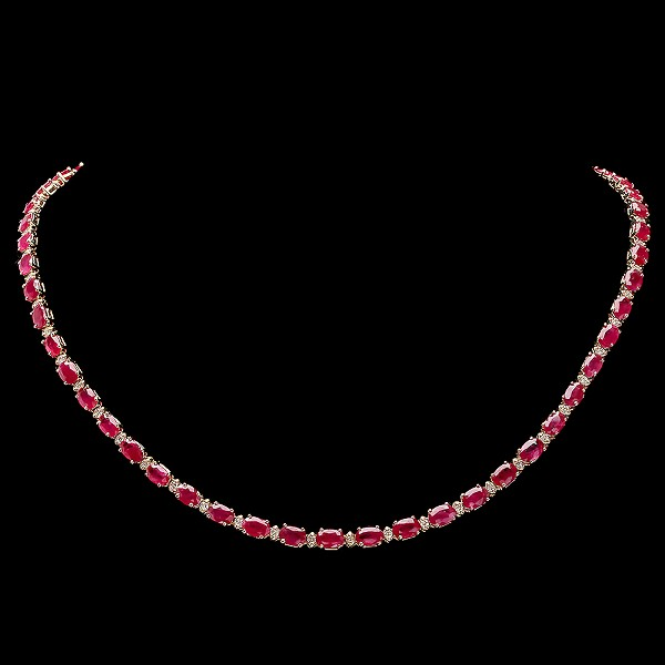 diamond Ruby & Gemstone Necklace 2.50 Ct Natural Certified Diamond 20.00Ct Stone Solid Gold