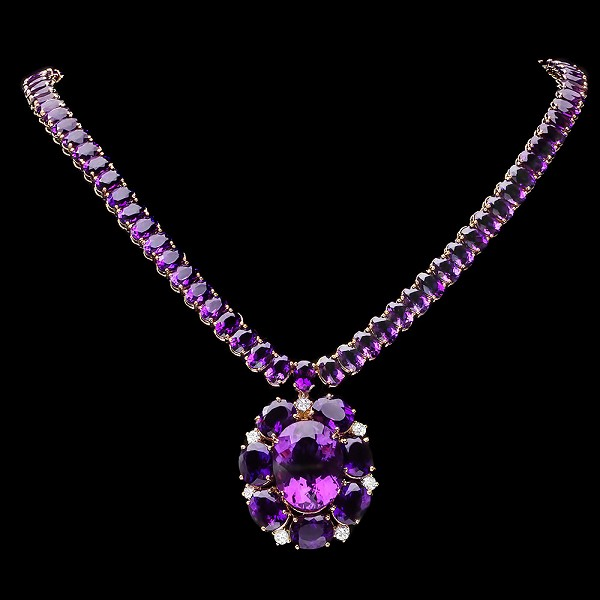 Gemstone Necklace 1.00 Ct Natural Certified Diamond 38.55Ct Amethyst Yellow Gold Wedding