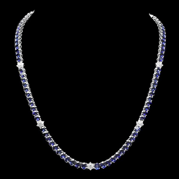 Gemstone Necklace 2.00 Ct  Natural Certified Diamond Blue Sapphire 23.10Ct Solid Gold Wedding Anniversary