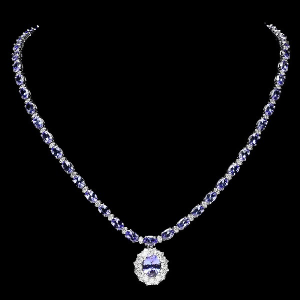 Diamond Gemstone Necklace 3.00 Ct Diamond  Natural Certified Blue Sapphire 18.00Ct Gold Bridal Jewelry
