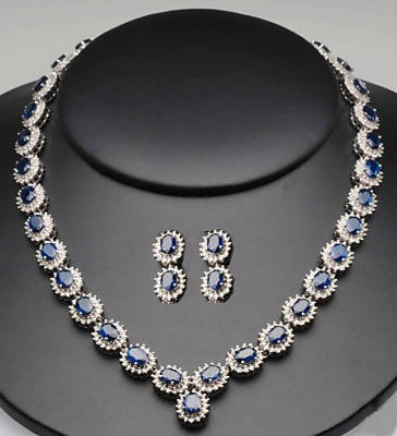 Gemstone Necklace 8.55 Ct Natural Certified Diamond 38.44Ct Blue Sapphire Solid Gold Wedding
