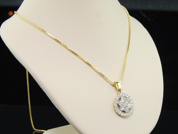 Diamond Pendant 0.65Ct Solid Yellow Gold Natural Certified