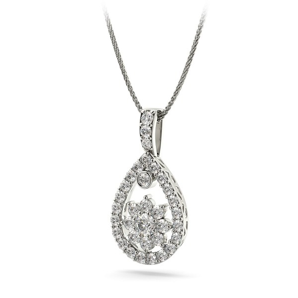 White Gold Pendant 0.65Ct Diamond Fine Necklace Natural Certified