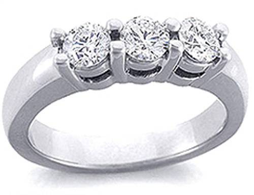 3 Stone Ring 1.00Ct Diamond Solid White Gold Natural Certified