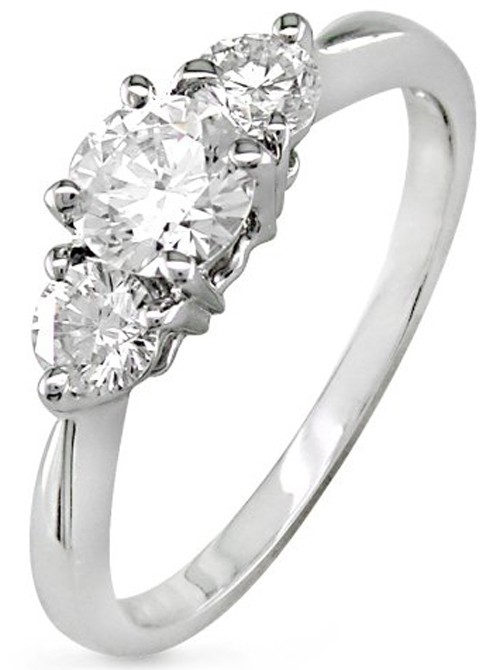 3 Stone Engagement Ring 1.40Ct Diamond White Gold Natural Certified