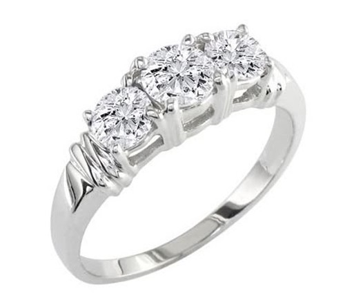 Three Stone Ring 2.50Ct Diamond Solid White Gold Natural Certified
