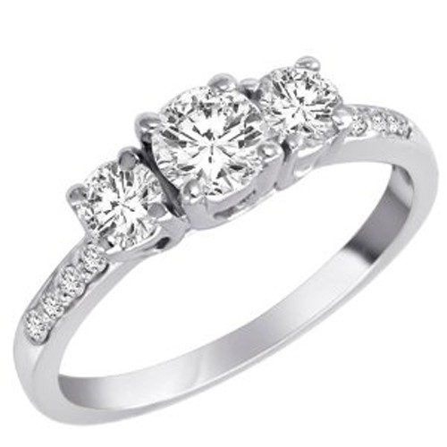 3 Stone Diamond Ring 1.00Ct Solid White Gold Solitaire Natural Certified