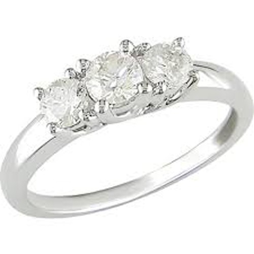 3 Stone Ring 1.50Ct Diamond White Gold Solitaire Natural Certified