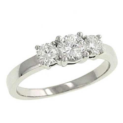 Three Stone Diamond Ring 1.00Ct Solid White Gold Natural Certified