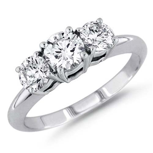 3 Diamond Engagement Ring 1.00Ct Solid White Gold Natural Certified