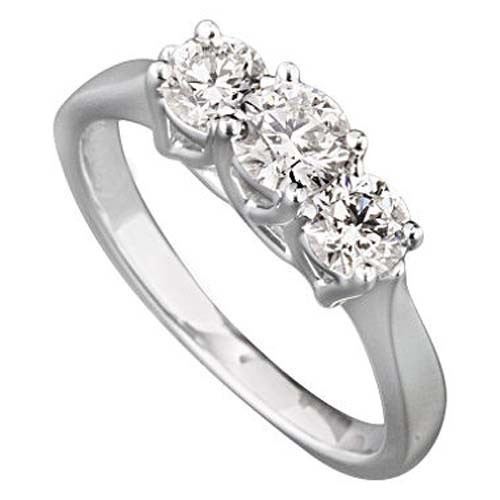 3 Stone Engagement Ring 1.55Ct Solid White Gold Natural Certified