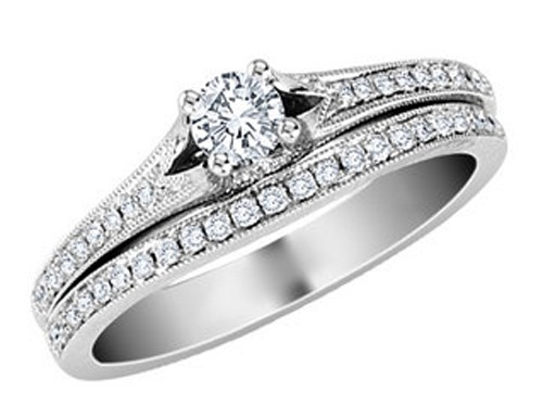 White Gold Diamond Engagement Ring Set 1.50Ct White Gold Solitaire Natural Certified