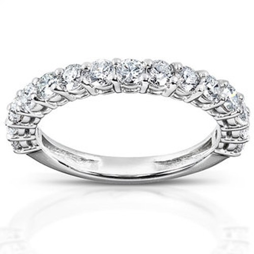 Diamond Anniversay Bands 1.00Ct Solid White Gold Ring Band Natural Certified