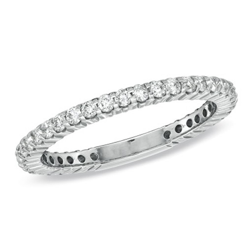 Diamond Anniversary Bands 1.28Ct Solid White Gold Ring Band Natural Certified