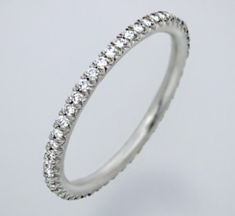 Diamond Eternity Band 1.01Ct White Gold Solitaire Ring Natural Certified