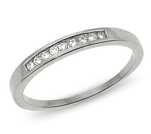 Diamond Anniversary Rings 0.36Ct Solid White Gold Band Natural Certified