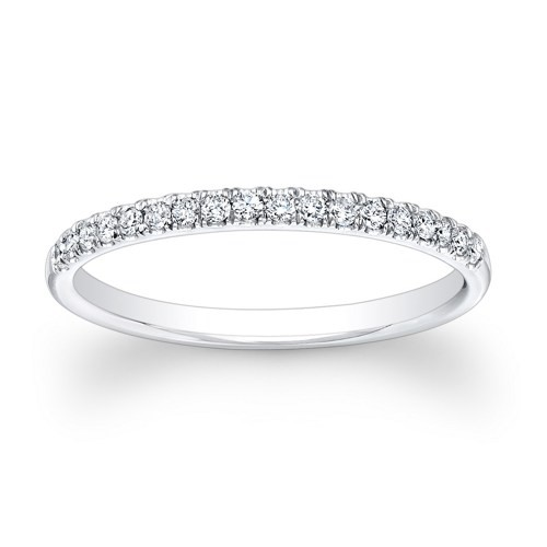 Anniversary Diamond Ring 0.75Ct Solid White Gold Band Natural Certified