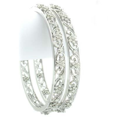 Eternity bangle 4.00 Ct Solid Gold Natural Certified