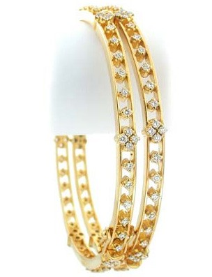 Diamond eternity Bangle 2.50 Ct Solid Gold Natural Certified