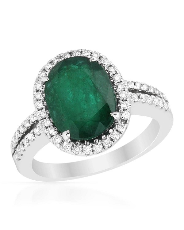 Cocktail Rings 1.00Ct Diamond 3.00Ct Emerald Solid Gold Ring Natural Certified