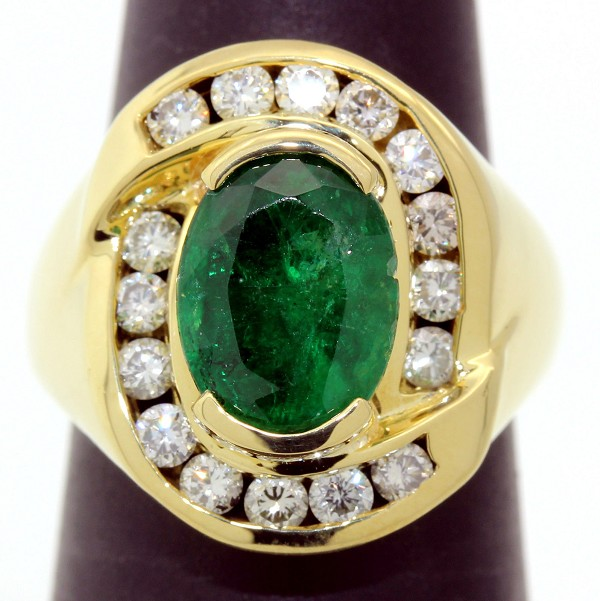 Diamond Cluster Cocktail Ring 1.00Ct Emerald 2.20Ct Solid Yellow Gold Natural Certified