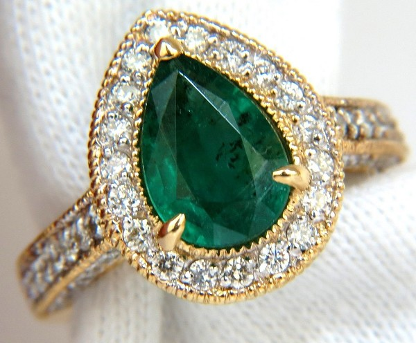 Cocktail Rings 1.00Ct Diamond 1.60Ct Emerald Yellow Gold Natural Certified