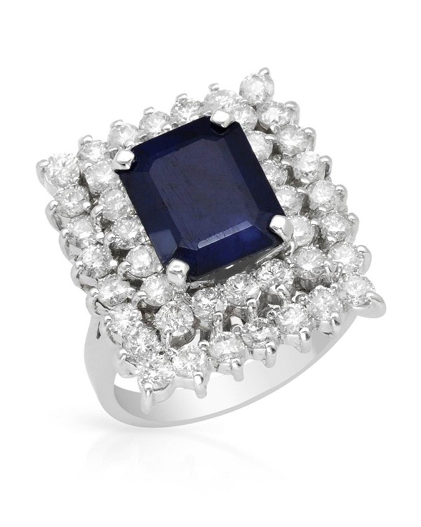 Diamond Cluster Cocktail Ring 1.50Ct Blue Sapphire 3.60Ct Solid Gold Natural Certified