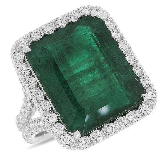 Vintage Gold Diamond Cocktail Ring 1.25Ct Diamond 4.85Ct Emerald Natural Certified
