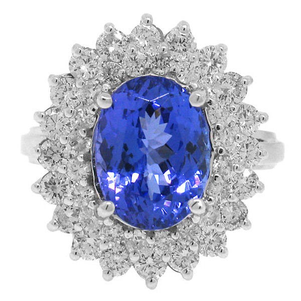 Vintage Cocktail Rings 1.28Ct Diamond 3.00Ct Tanzanite Solid Gold Natural Certified