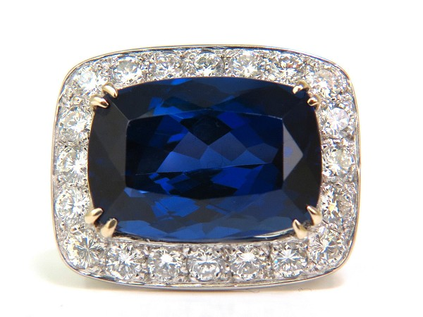 Diamond Cluster Cocktail Ring 1.00Ct Blue Sapphire 5.00Ct Solid Gold Natural Certified