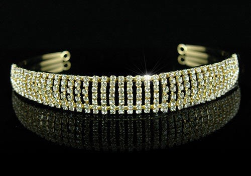 Certified Diamond Gold Tiara 12.00Ct Certified Diamond 14K Gold Bridal Headpieces