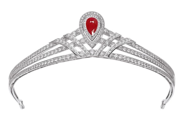 Queen Crown 15.00 Ct Natural Certified Diamond Ruby 14K White Gold Bridal Hair Accessories