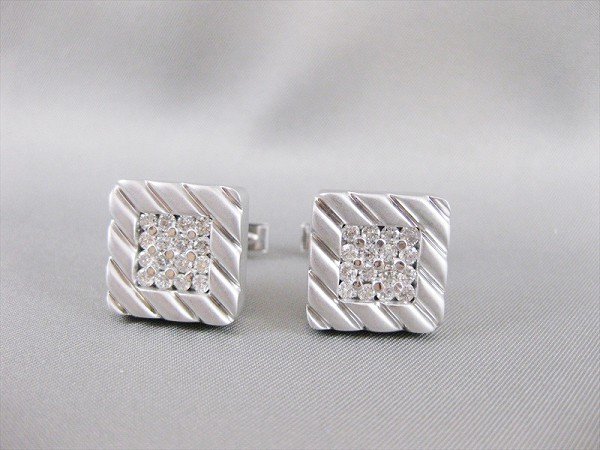 0.65 Ct Untreated Diamond Solid Gold Men'S Certified Cufflinks