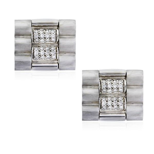 0.48 Ct Untreated Diamond Solid Gold Men'S Certified Cufflinks