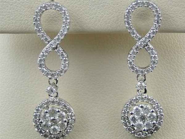 Diamond Hanging Earrings 2.50 Ct Natural Certified Solid Gold Wedding