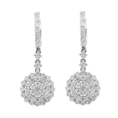 Diamond Hanging Earrings 2.00 Ct Natural Certified Solid White Gold