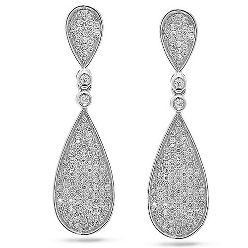 Dangle Earrings 4.00 Ct Diamond Natural Certified Solid White Gold