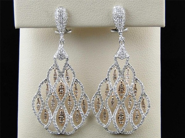 Diamond Dangle Earrings 4.00 Ct Natural Certified Solid Gold