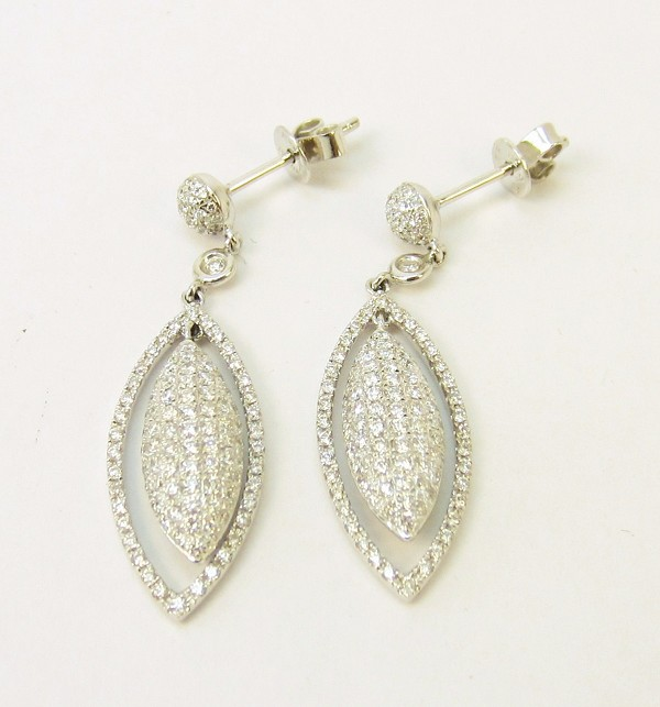 Diamond Hanging Earrings 2.55Ct  Natural Certified Solid Gold Anniversary