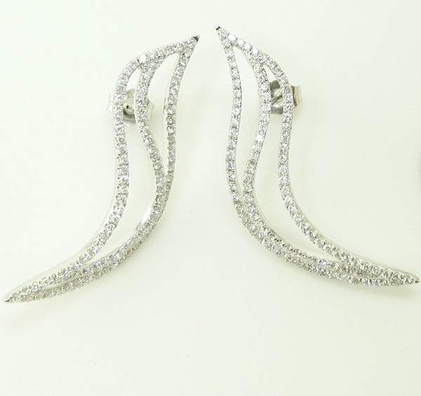Diamond Drop Earrings 2.25Ct Natural Certified Solid White Gold