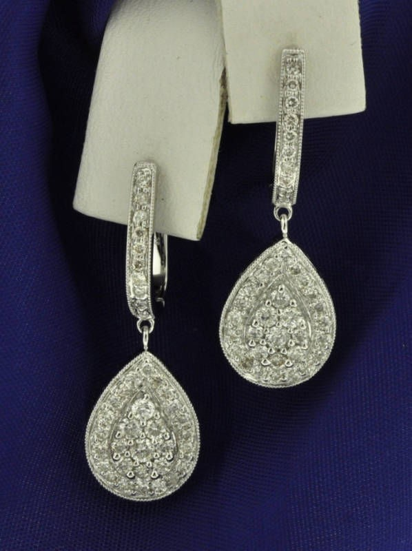 Diamond Drop Earrings 1.15Ct Natural Certified Solid White Gold